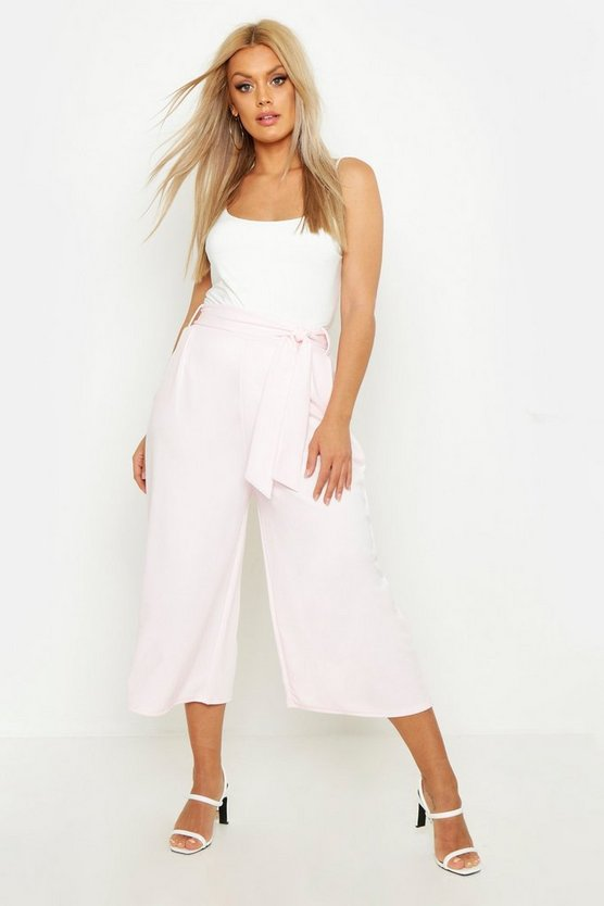 Womens Baby pink Plus Self Belt Structured Culotte Pants
