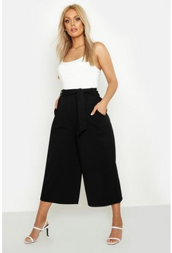 Womens Black Plus Self Belt Structured Culotte Pants