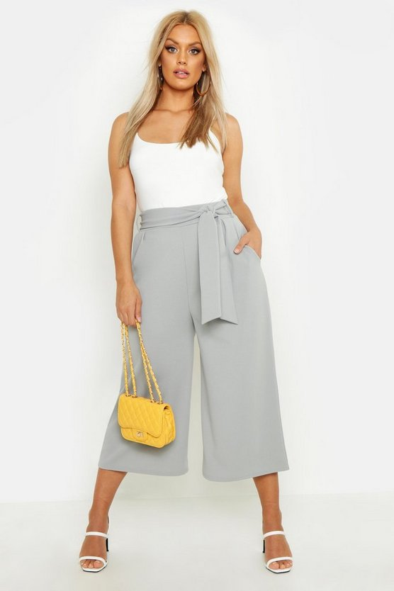 Womens Grey Plus Self Belt Structured Culotte Pants