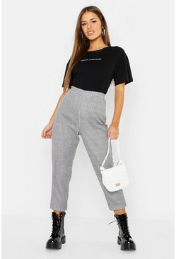 Womens Black Petite Gingham Tapered Pants