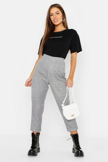 Womens Black Petite Gingham Tapered Trousers