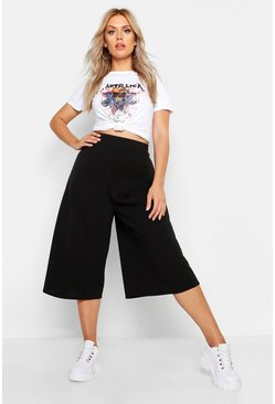 Womens Black Plus Wide Leg Culotte