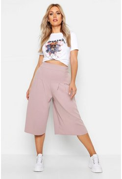 Womens Taupe Plus Wide Leg Culotte