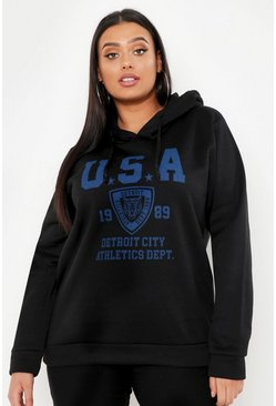 Womens Black Plus USA Hooded Sweat