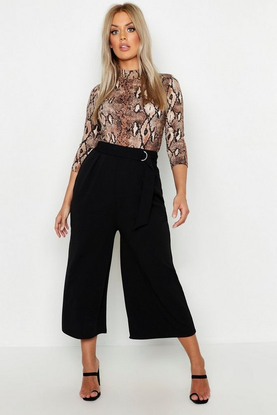 Womens Black Plus O-Ring Belted Tailored Culotte Trouser