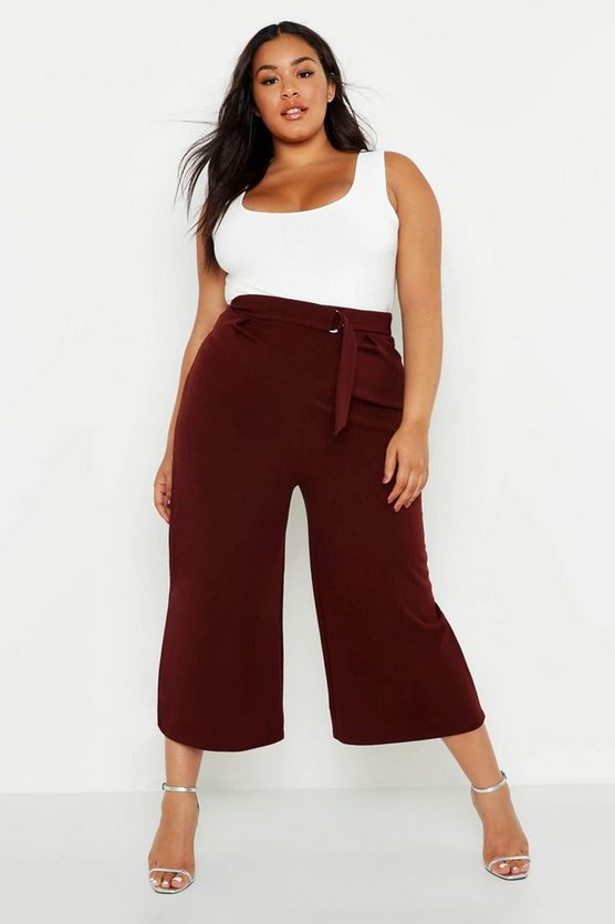 Womens Chocolate Plus O-Ring Belted Tailored Culotte Trouser