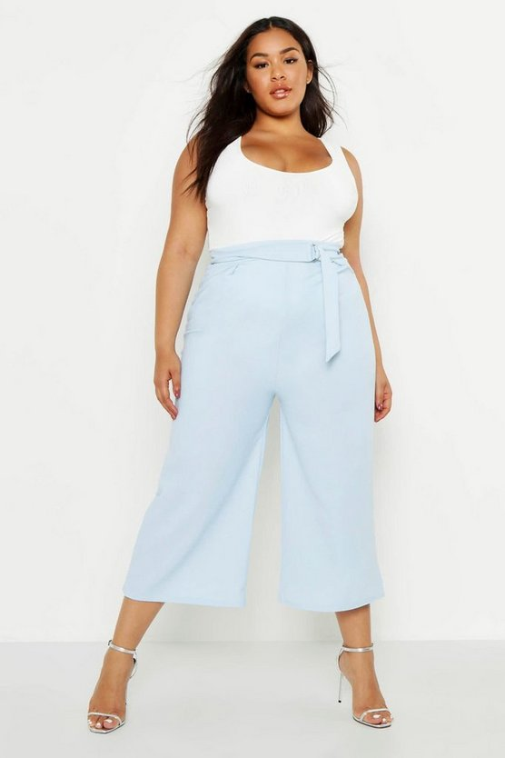 Womens Denim-blue Plus O-Ring Belted Tailored Culotte Trouser