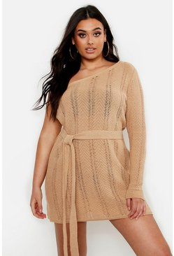 Plus One Shoulder Mini Beach Dress, Camel, Donna
