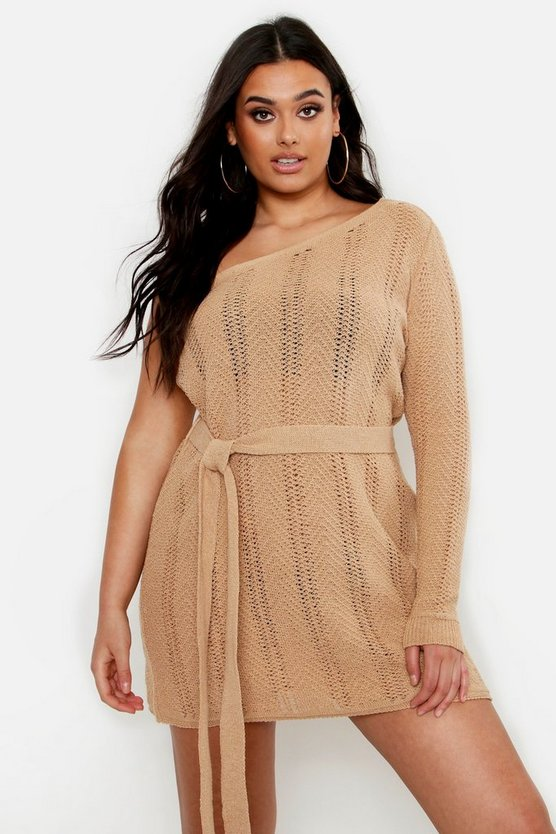 Womens Camel Plus One Shoulder Mini Beach Dress