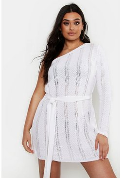 Plus One Shoulder Mini Beach Dress, Ivory