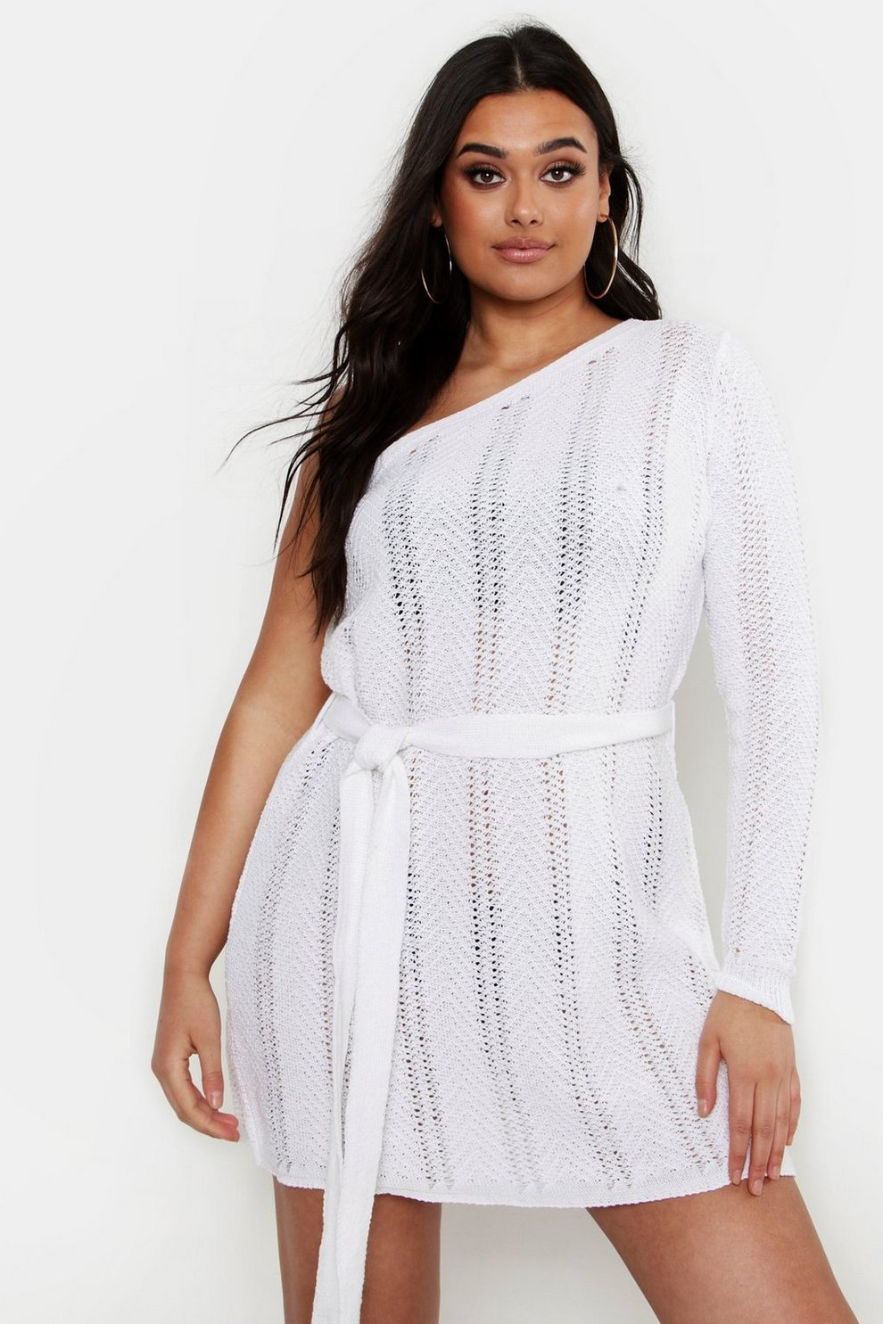 5a8a4411d008 Womens Ivory Plus One Shoulder Mini Beach Dress. Hover to zoom