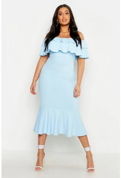 Womens Baby blue Plus Ruffle Fishtail Midi Dress