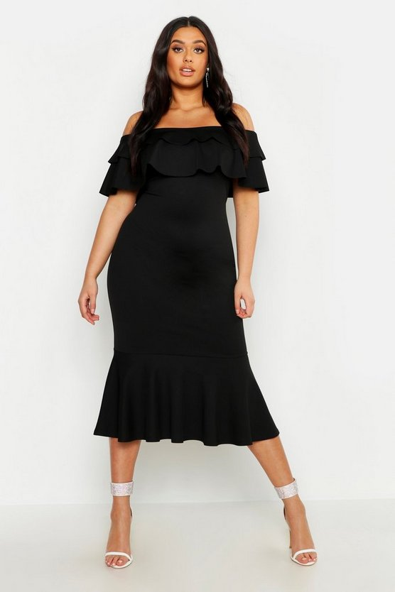 Womens Black Plus Ruffle Fishtail Midi Dress