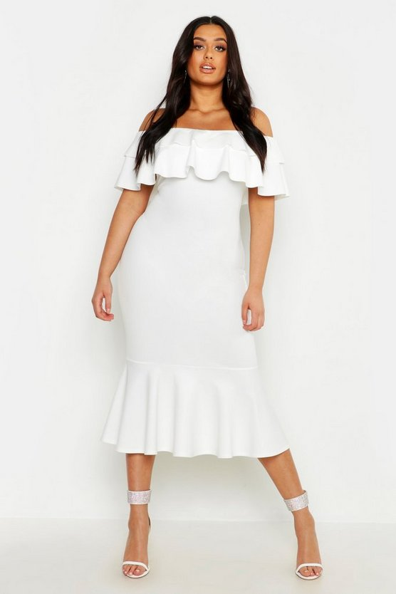 Womens White Plus Ruffle Fishtail Midi Dress