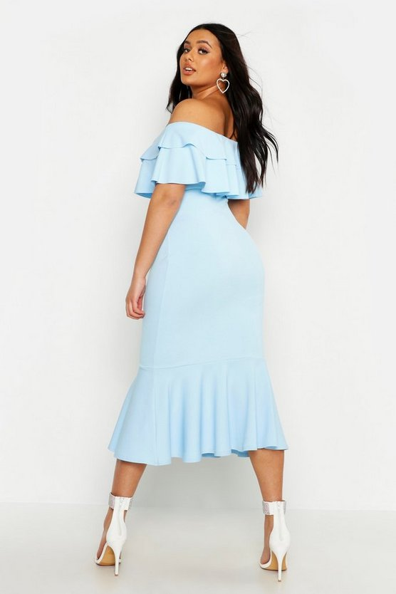 Plus Ruffle Fishtail Midi Dress