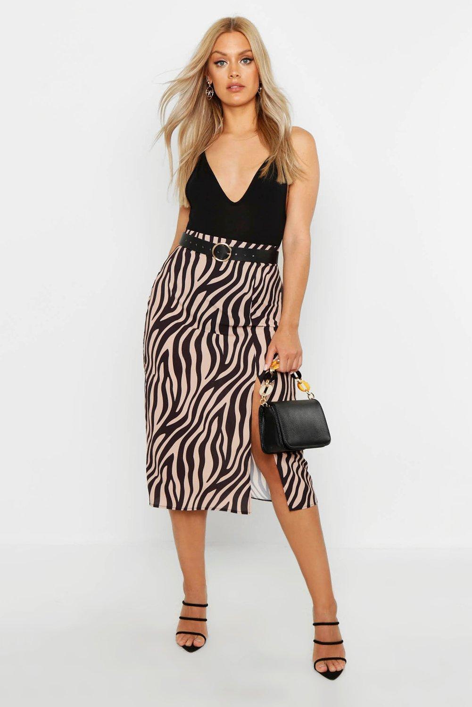 Plus Woven Zebra Print Midi Skirt