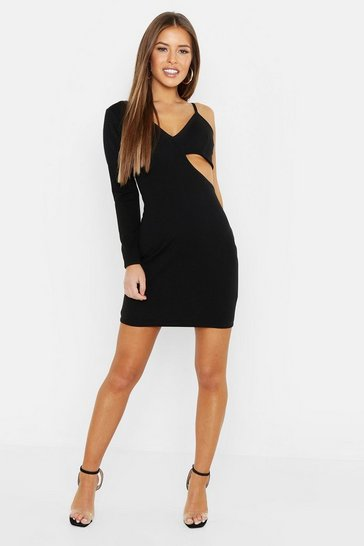 Womens Black Petite Cut Out Bodycon Dress