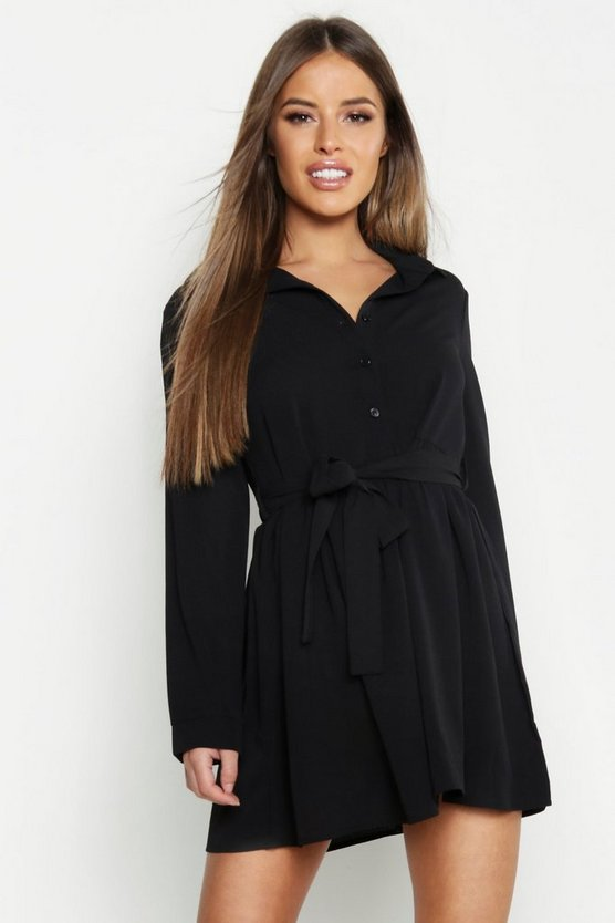 Womens Black Petite Smock Shirt Dress