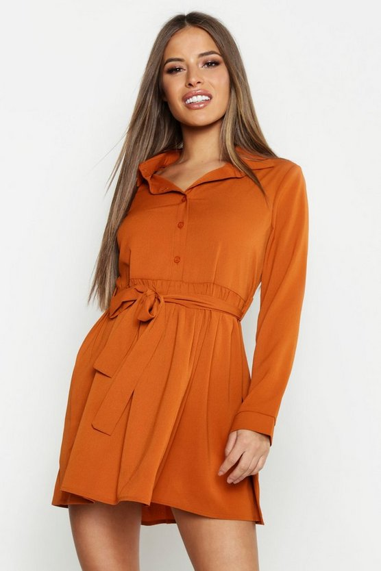 Womens Rust Petite Smock Shirt Dress