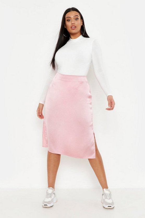 Womens Barely pink Plus Satin Slip Midi Skirt