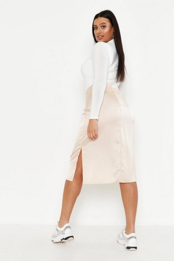 Plus Satin Slip Midi Skirt