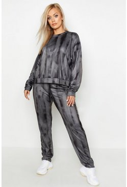 Womens Charcoal Plus Tie Dye Lounge Set