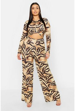 Brown Plus Slinky Tiger Print Co-ord