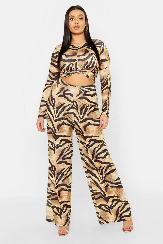 Womens Brown Plus Slinky Tiger Print Co-ord