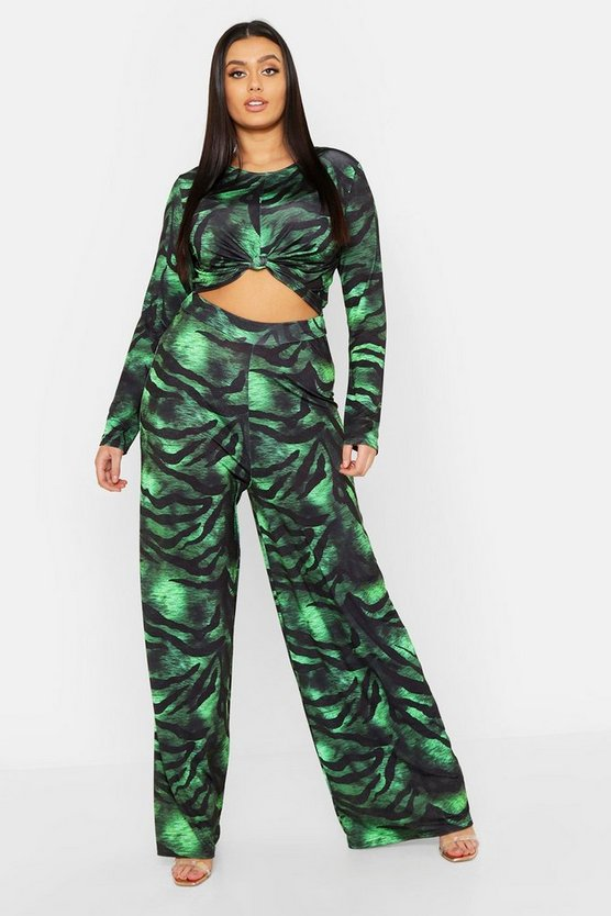 Womens Green Plus Slinky Tiger Print Co-ord