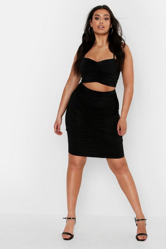 Black Plus Ruched Detail Skirt Co-ord Set