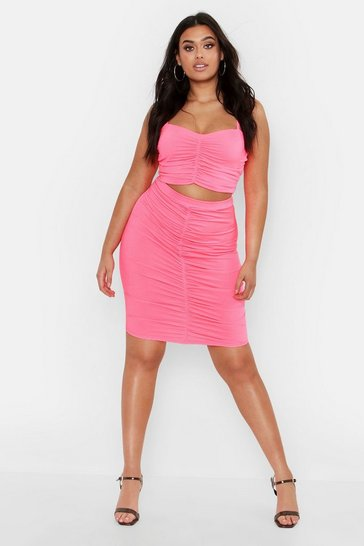 Womens Neon-pink Plus Ruched Detail Skirt Co-ord Set
