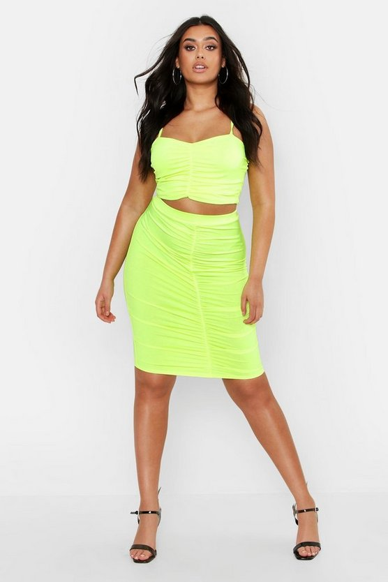 Womens Neon-yellow Plus Ruched Detail Skirt Co-ord Set