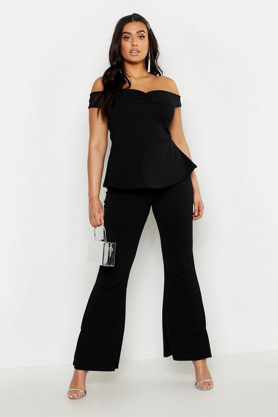 Plus Off The Shoulder Top & Flared Trouser Co-Ord, Black, Donna