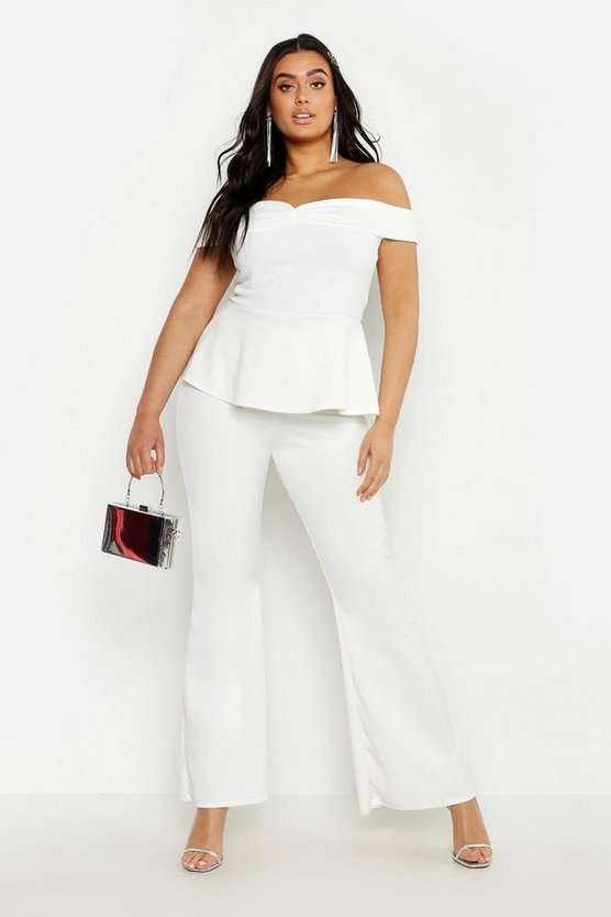 Womens Ivory Plus Off The Shoulder Top & Flared Trouser Co-Ord