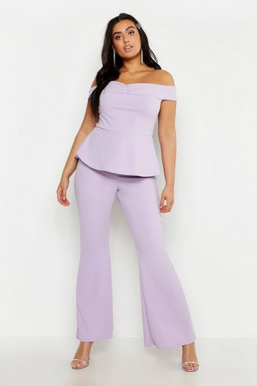 Womens Lilac Plus Off The Shoulder Top & Flared Trouser Co-Ord