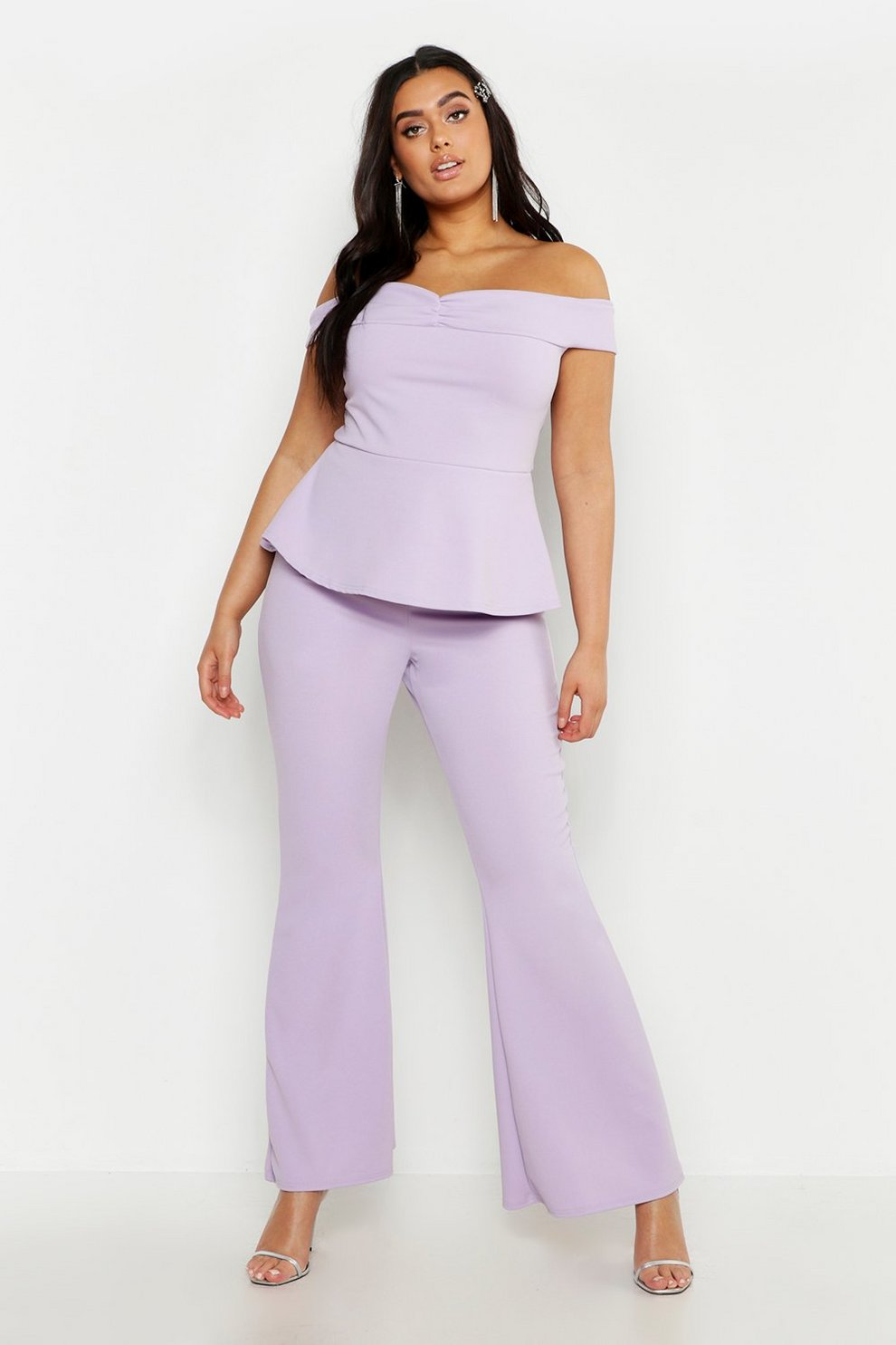bc46aa884030b9 Plus Off The Shoulder Top   Flared Trouser Co-Ord