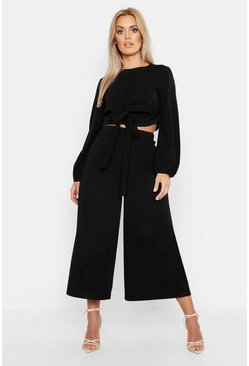 Black Plus Scuba Crepe Wrap Top And Culotte Co-ord