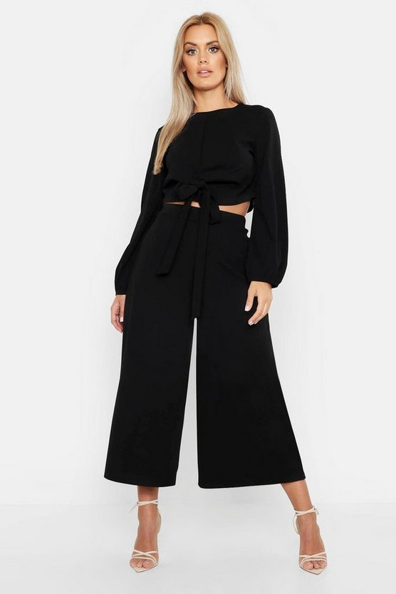 Womens Black Plus Scuba Crepe Wrap Top And Culotte Co-ord