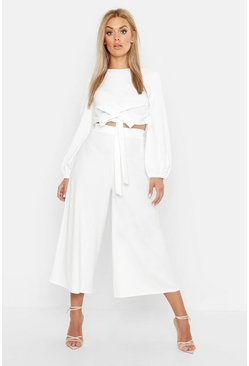 Womens Ivory Plus Scuba Crepe Wrap Top And Culotte Co-ord