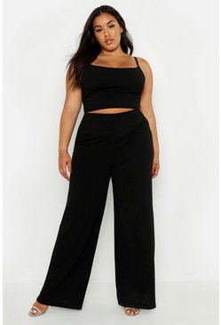 Womens Black Plus Strappy Longline Crop & Flared Trouser Co-Ord