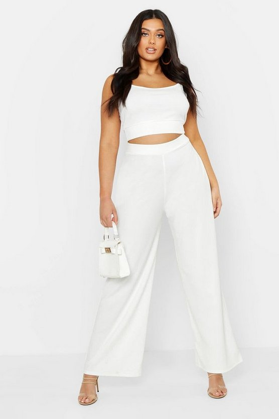 Plus Strappy Longline Crop & Flared Trouser Co-Ord