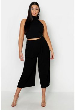 Womens Black Plus High Neck Crop & Long Culotte Co-Ord Set