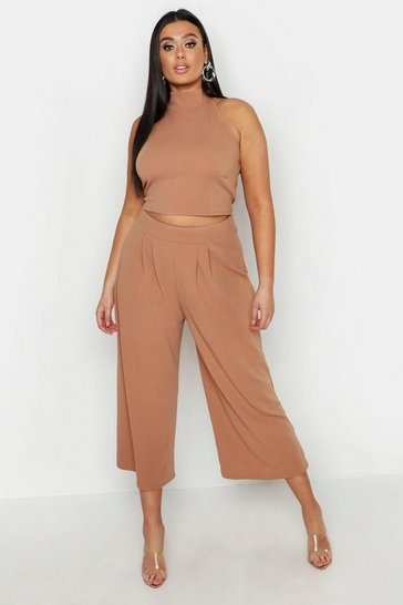 Womens Camel Plus High Neck Crop & Long Culotte Co-Ord Set