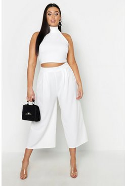 Ivory Plus - Tvådelat set med crop top och culottebyxor