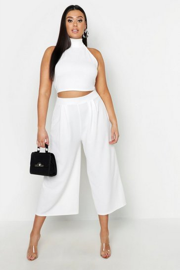 Ivory Plus High Neck Crop & Long Culotte Co-Ord Set