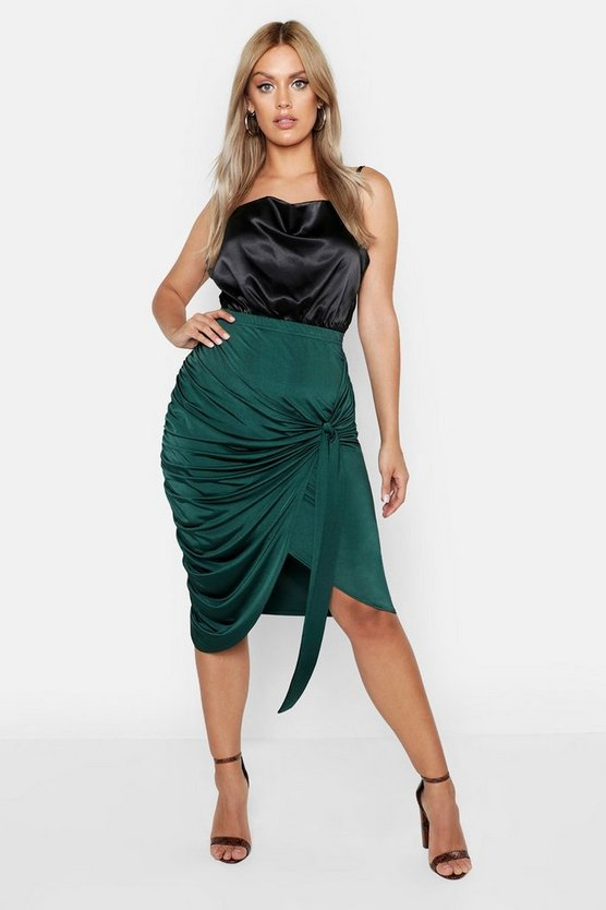 Womens Bottle green Plus Slinky Wrap Rouched Detail Midi Skirt