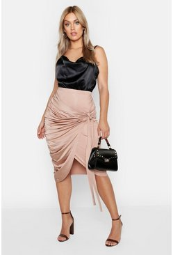 Sand Plus Slinky Wrap Ruched Detail Midi Skirt