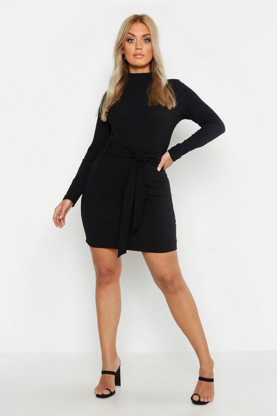Womens Black Plus Crepe Tie Belt Mini Skirt