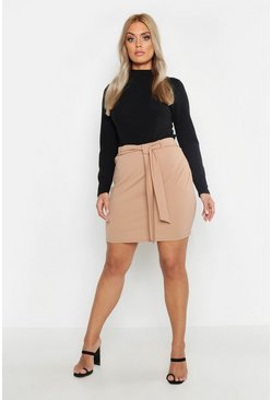 Womens Camel Plus Crepe Tie Belt Mini Skirt