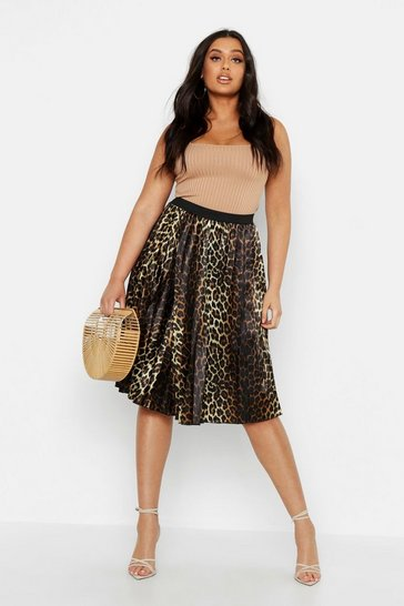 Womens Brown Plus Satin Leopard Print Midi Skater Skirt
